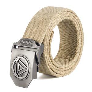 Maschio Belt Buckle Iron Man di alta qualità di marca del progettista Belt For Men Casual Style Tactical Belt per i jeans 120 centimetri