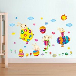 20190621 Cute Eggs and Rabbit Cartoon Parede Adere ao Fundo Parede Decorativa do Quarto das Crianças do Quarto