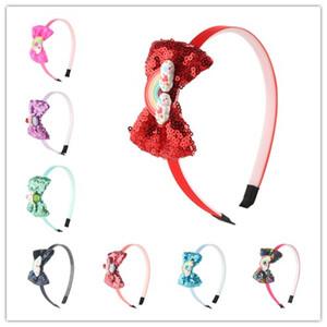 16pcs / lot vente chaude Arcs de Cheveux pour les Filles Glitter Hairbow Hairbands Princesse Sequin Arc Enfants Tête Cerceau Arc-En-Ciel De Résine Kid Chapeaux