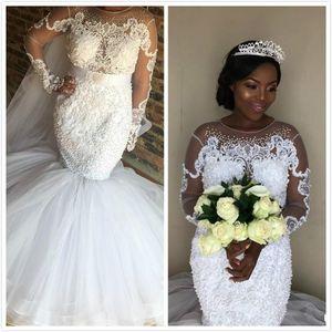 2020 아프리카 흑인 소녀 인어 웨딩 드레스 쉬어 목 레이스 아플리케 구슬 얇은 명주 그물 긴팔 티셔츠 띠 플러스 사이즈 정장 신부 가운
