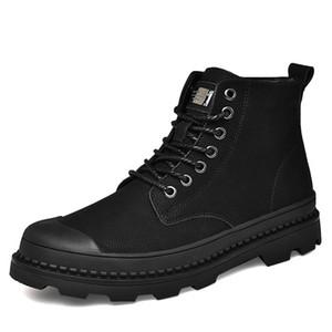 Зимние теплые меховые ботильоны мужчин кожа Повседневная обувь мода Мужская работа Военные ботинки Waterproof Cowboy Botas