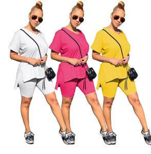 Women Tracksuit Fashion Solid Color Designer V-neck Short Sleeves T Shirt Shorts Two Piece Set Outfits Casual Sports Suit 3 Colors CZ630