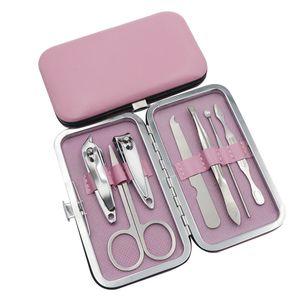 Красочные инструменты для ухода за ногтями маникюрные наборы кусачки для ногтей ножницы для ногтей пинцет маникюр педикюрный набор путешествия груминг комплект 7 шт. / компл. DHL бесплатно