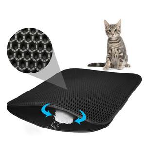 Tapis de litière de chat imperméable pour animaux de compagnie Double couche EVA Tapis de recouvrement pour litière de chat Tapis de protection Fond anti-dérapant Grande litière pour chat Double tapis