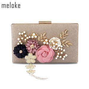 Meloke 2019 Nova Moda Artesanal Floral Sacos de Noite Sacos De Embreagem De Casamento Com Pérola Sacos de Festa Cadeia Para Senhoras Mn569 Y19061301
