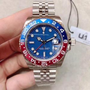 2020 fábrica U1 uno alta calidad 2813 Movimiento reloj automático azul 40MM fecha de línea de cerámica shiping libre del bisel de los hombres reloj de pulsera