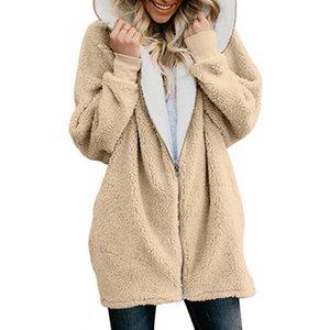 Inverno Donne Shaggy con cappuccio Teddy cappotto manica lunga lana d'agnello Faux Fur Coat autunno cardigan peluche rivestimento della pelliccia Femme dimensione Large