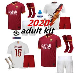 2019 2020 AS roma Evde uzağa futbol Formalar yetişkin kiti 19 20 TOTTI roma Camisetas futbol Gömlek Seti De Rossi Veda maçı üniformalar