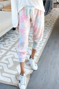 Nuova gratuito per i pigiami tiedye per Womens girocollo Tie Dye pigiama corto Imposta Tie Dye Sleepwear Pajamas stampa floreale Hotclipper
