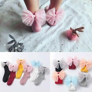 Детские Детские девушки малышей лук кружева принцессы носки мягкий хлопок колено высокие чулочно-носочные изделия Носки 1-8Y