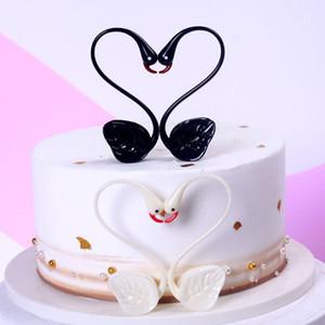 accesorios feliz cumpleaños de la torta en forma de corazón del amor del cisne de visualización Bunting Banner Cake Topper ornamento partido