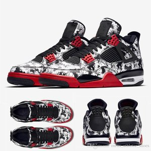 Chaussures décontractées pour hommes de style Hip Cool Tattoo chaussures de basketball 4s lvs Bleu Noir Blanc denim Raptors chaussures de sport formateurs scott