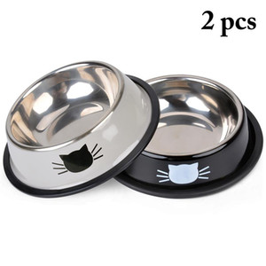 New Pet Product Dog Cat Food Bowls Stainless Steel Anti-skid Dogs Cats Water Bowl Pets Drinking Feeding Bowls Tools Supplies B10
