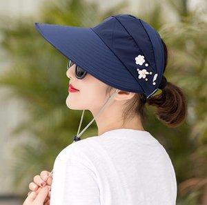 Новая мода Женщина Hat Корея Стиль Цветок Packable Больших широких шляпы Anti-UV регулируемого Ladies Floppy Бич ВС