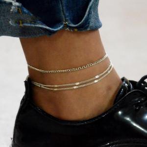 2PCs Sommer Fußkettchen Eigendlich Fuss-Ketten-eleganter doppelte Schicht Anklet Füße Schmuck Strand Schmuck zu Fuß Armband