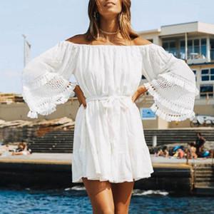 Il formato più cover up White Beach abito Cover-up 2020 della spiaggia delle donne Swimwear Tuniche Swimsuit Cover Up bianco di occultamento del bikini Sarong
