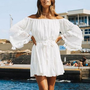 Plus la couverture taille ups robe White Beach Cover-up 2020 Maillots de bain Femme Maillot de bain Plage Cover Ups Tunics White Bikini Recouvrir Sarong
