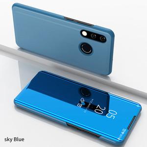 Caso sono inteligente de luxo Espelho capa de couro da aleta para Huawei P30 Lite Clear View Janela Smart Cover