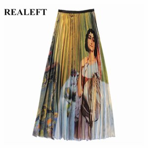 Realeft 2019 Spring Summer Vintage Cartoon Printed Long Skirts New Arrival High Waist Tulle Pleated Maxi Skirts For Womens Y19072001