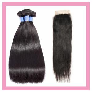 Indian Raw Virgin Hair 3 Bundles Con 4 * 4 Cierre de Cordón Con Tramas de Pelo de Bebé Con 4X4 Cierre de Cordón Cabello Humano Recto al por mayor