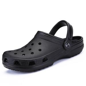 Hombres Negro Jardín Casual Zuecos de Aqua caliente masculino banda sandalias de verano Diapositivas playa de la piscina zapatos del tamaño grande 39-46 Croc