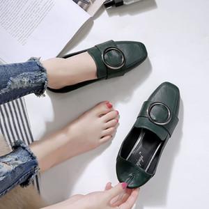 derrapante marca coreana em mulheres sapatos preguiçosos alpercatas mulas cinto de fivela casuais mocassins planas grávidas dedo do pé quadrado anel de metal trepadeira