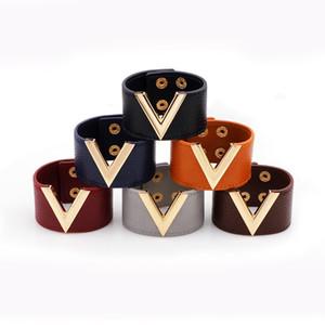 2019 New V Shape Stylish Charm Wrap Leather Cuff Bracelets Gold V Bracelet For Wedding Engagement Fashion Symbol Wristband Femme Jewelry