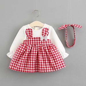 Nouveau-né bébé filles princesse robe 2pcs manches longues bande dessinée oreilles de lapin à carreaux patchwork robe + bandeau 0-36 m