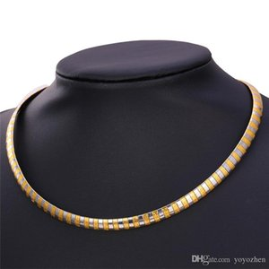 Unisex High Quality Stainless Steel Collar Necklace for Women or Men 18K Gold Plated Fancy Snake Choker Necklace