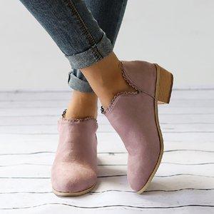 Mulheres da moda Botas Dedo Do Pé Redondo Martin Botas Ankle Boots Clássicos Sapatos Casuais chaussure femme talon escarpins tamanho grande 35-43
