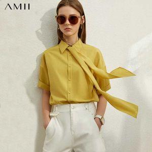 AMII Minimalisme Printemps Eté Bow Neck Loose Women Shirt Caual Ceinture solide Femme Chemisier Hauts 12070239