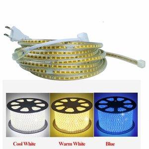 Lumière de bande menée imperméable de 220V avec la lumière de corde flexible de la prise 2835 SMD d'UE, décoration d'intérieur extérieure à haute luminosité de 120 Leds / M
