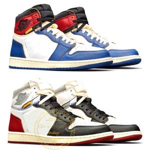 Union X 1 High OG NRG Basketball-Schuh-Blau Rot beste Qualität 1S Mens Turnschuhe Sport Designer-Turnschuhe Größe 7-12