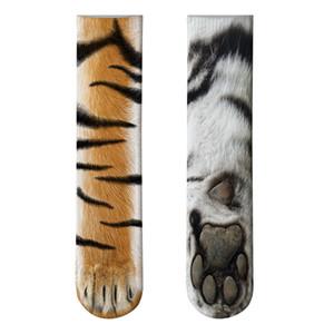 2019 New Funny Socks 3D Paw Imprimé Animal Chaussettes Femmes Chat Zèbre Leopard Panda Paw Long Coton Chaussettes pour Hommes Femmes Unisexe