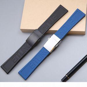 22 24mm High Quality Rubber Silicone Blcak Blue Watchband Straps For Breitling Men Women Bracelet Wrist Tape Deploymemt clasp T191102