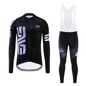 DNA Ciclismo 2019 Autunno Pro Cycling Jersey gli insiemi dei vestiti in bicicletta il vestito a maniche lunghe pantaloni 12D Gel imbottito esterna che corre la Jersey