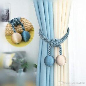 Vente en gros coton écologique main rideaux en bretelles simples rideaux pour rideaux suspendus boule Crochet rideau Accessoires Tied Corde