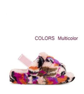 Kadınların kürklü terlikler avustralya kabartıp mulitcolor slayt tasarımcı evetugggündelik botlar moda bayan sandalet kürk slaytlar slippers74df #
