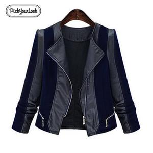 Pickyourlook Pu Pelle Donna del rivestimento del cappotto Plus Size Patchwork moto cappotto per la femmina Moda Zipper Grande signora Outerwear Y200101