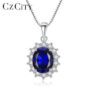 Czcity Elegante Oval Princesa Diana William Safira Pingente de Colar Para As Mulheres 100% 925 Sterling Silver Encantos Colar de Jóias MX190726