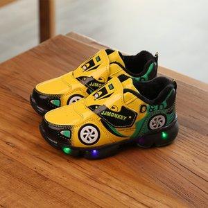 Davidyue lumineux Chaussures de sport Chaussures de sport pour enfants en cuir PU Chaussures Filles Garçons Enfants Led enfants Glowing Lighted Bébé Enfant Chaussures Y19051303