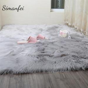 Alfombras peludas Simanfei Nueva piel de oveja Piel de piel lisa Dormitorio mullido Faux Mats Lavable área de textil artificial Alfombras cuadradas D19011201