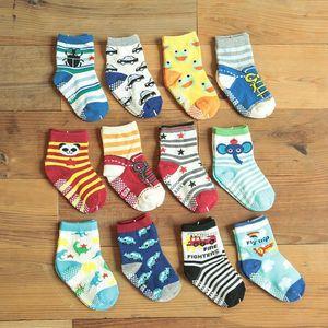 12 Stil Pamuk Desen Bebek Çorap Kauçuk kaymaz Zemin Çorap Sevimli Karikatür Küçük Çocuk Çorap 1--3 Bebek