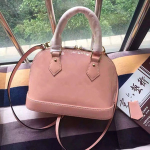 25cm Classic printing patent leather handbags purses monogram Shell package tote bag Detachable shoulder strap crossbody bags