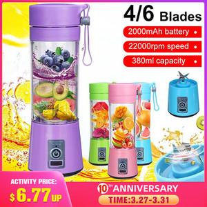 380ml 6 Blades Portable Blender Electric Fruit Juicer Home USB Rechargeable Smoothie Maker Blenders Machine Sports Bottle Juicing Cup