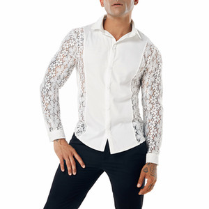 Shirt moda del merletto del ricamo uomini 2018 Brand New Sexy Vedere attraverso la camicia Mens pulsante casual Camicie Club Wedding Party Event