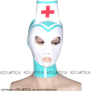 Jade Green With White Trims And Red Cross Decoration Latex Hoods Open Eyes Nostril Mouth With Zipper At Back Rubber Masks TT-0058