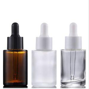 Bottiglia di siero di olio essenziale rotonda di vetro ambrato trasparente smerigliato all'ingrosso da 30 ml con contagocce in vetro per essenza di cosmetici