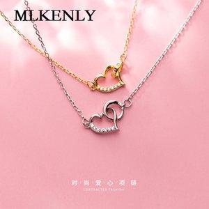 Collier en argent sterling 925 MLKENLY Doux et soigné, cœur, version coréenne de la petite fille fraîche, mode clavicule, cha