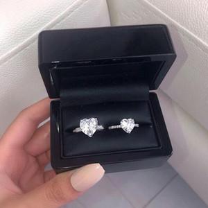 Dimensione 6-10 Vendita calda Solitaire Semplice gioielli Fine 925 Sterling Silver Heart Shape White Topaz CZ Diamond Donne Donne Anello a banda di fidanzamento